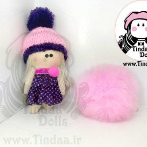آویز عروسک روسی دختر کد #143 به همراه کلاه بافتنی