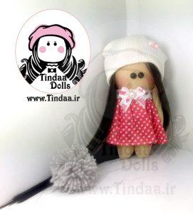 آویز ۱۰ سانتی متری عروسک روسی دختر کد #160 به همراه کلاه کش بافت